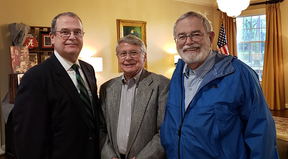 Former WSFA anchor/news director Charles Caton, right, poses for a photo with former WSFA...