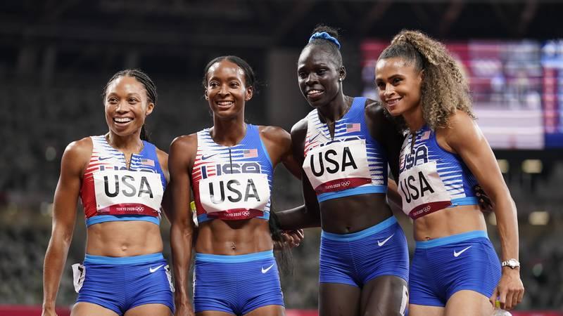 The United States team of Allyson Felix, Dalilah Muhammad, Athing Mu, and Sydney Mclaughlin,...