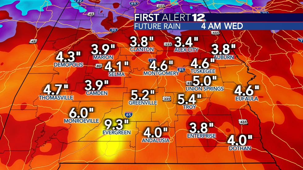 """Total rain will reach 3-5"""" in many places over the next week."""
