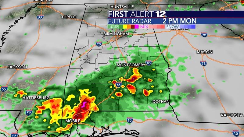 Rain and storms are possible in spots on Monday.