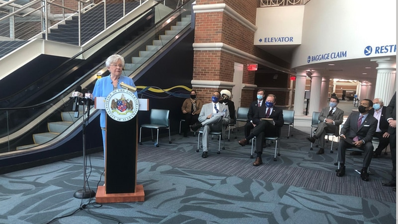 Gov. Kay Ivey releases details on the economic impact of Alabama's 80 airports during a news...