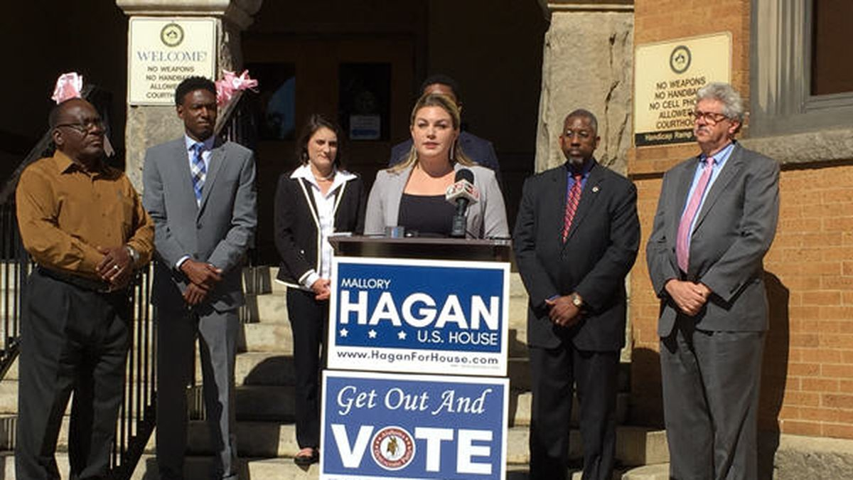 AL 3rd congressional district candidate Mallory Hagan holds a news conference regarding voter...