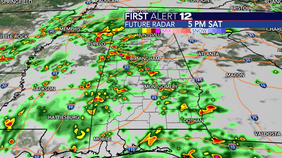 Numerous showers and storms expected Saturday.