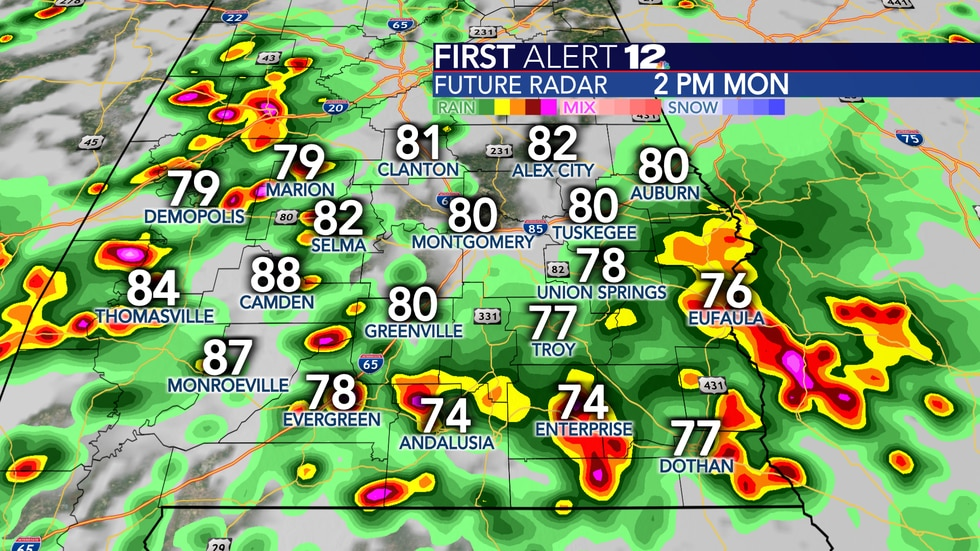 Numerous showers and thunderstorms are likely Monday