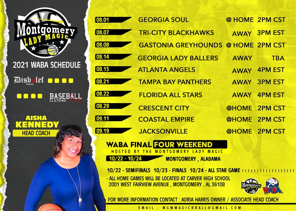 The Montgomery Lady Magic 2021 schedule.