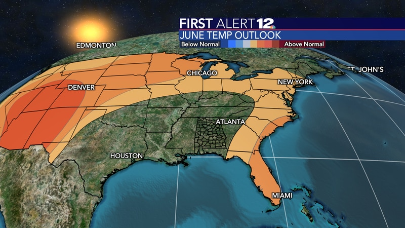 June is forecast to be normal in the temperature department.