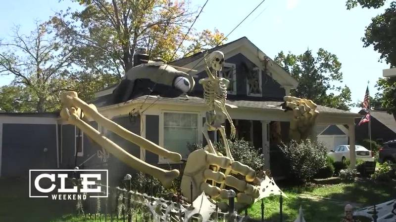 An Ohio resident spent four years planning to create an oversized skeleton for Halloween.
