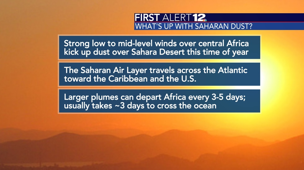 Saharan dust crossing the Atlantic Ocean is normal during the June-August time frame.
