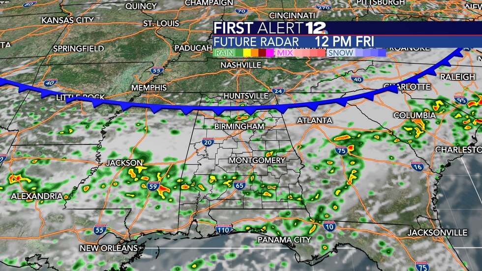 Rain and storm coverage will be high Friday into Friday night ahead of a cold front.