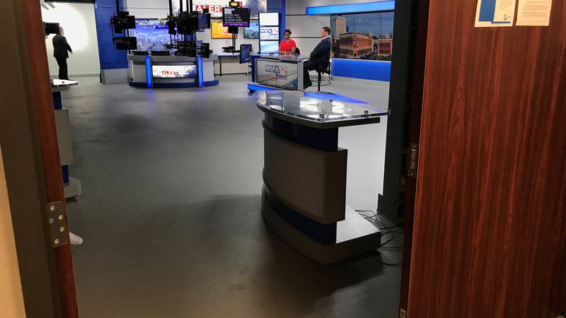 A behind the scenes look at the new WSFA 12 News studio during Mark Bullock and Valorie...