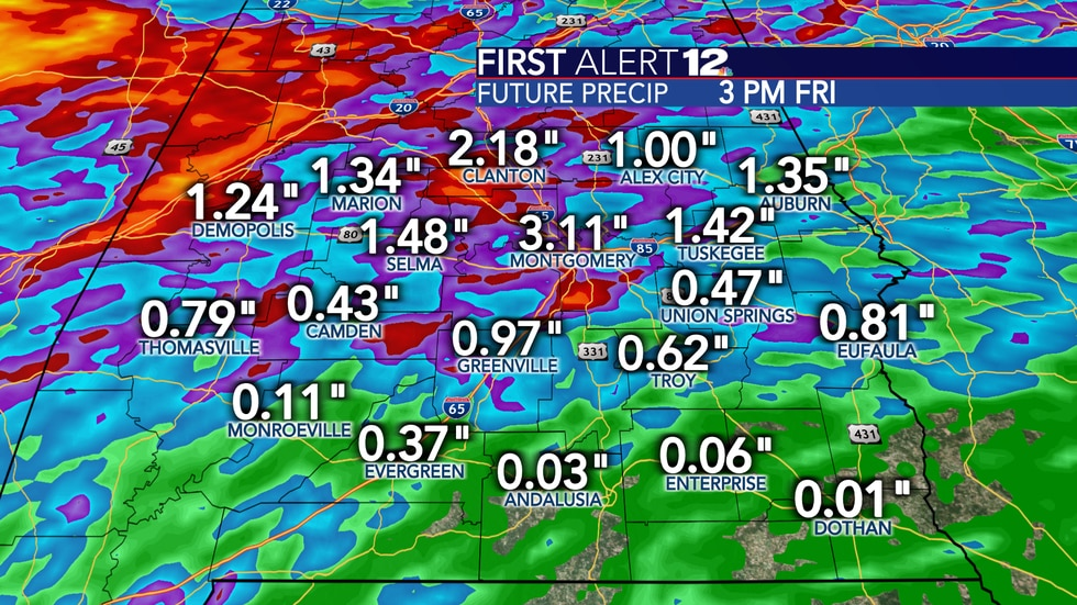 Rain totals will vary from location to location through Friday, but will range from as little...