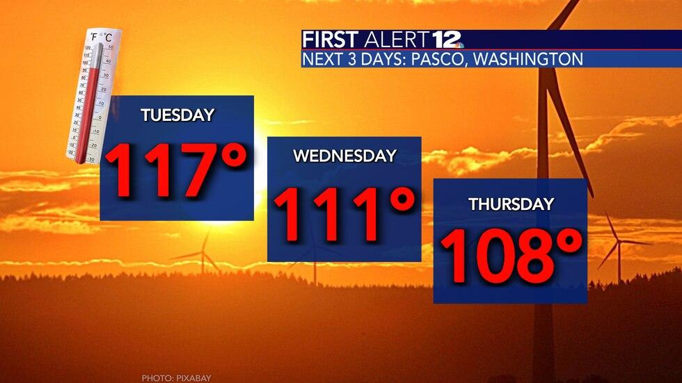 Pasco, Washington, forecast shows extreme heat through the workweek.