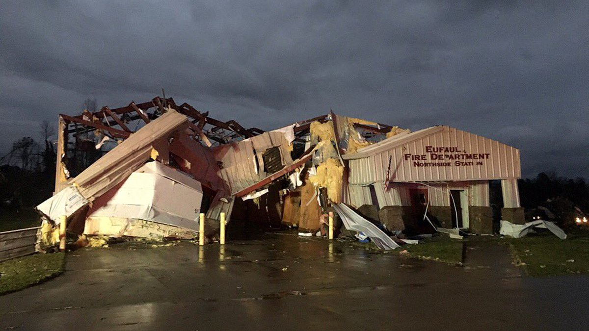 Eufaula Fire Department's Northside Station destroyed.