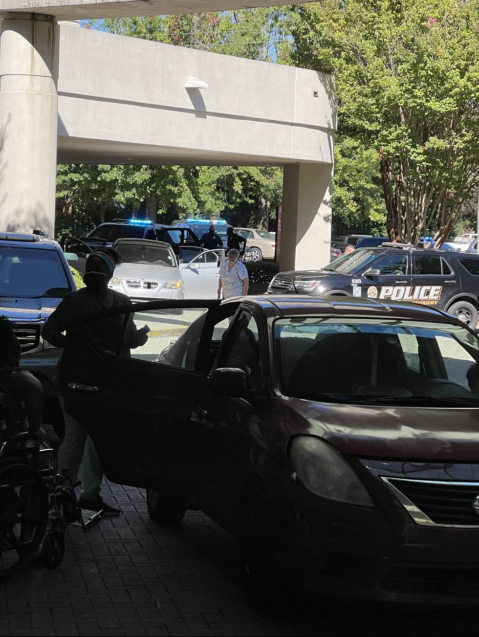 Multiple Montgomery police units followed a vehicle to Jackson Hospital Friday afternoon.