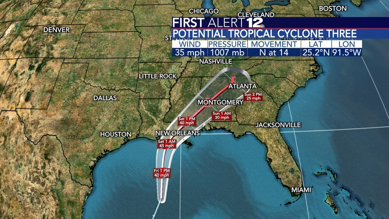 We are watching as PTC 3 quick takes shape and brings a good helping of rain to the Deep South!