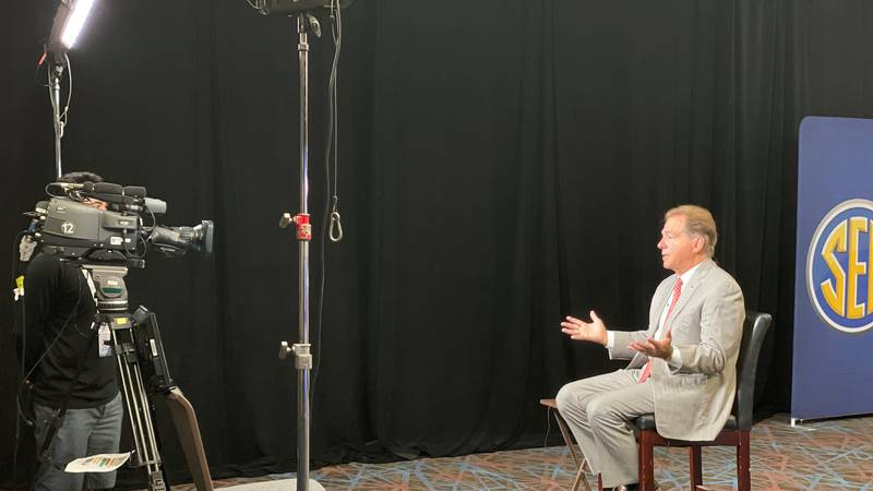 Alabama head coach Nick Saban speaks at 2021 SEC Media Days.