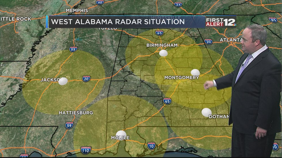 """WSFA Chief Meteorologist Josh Johnson shows where there is a large """"gap"""" or void in west..."""