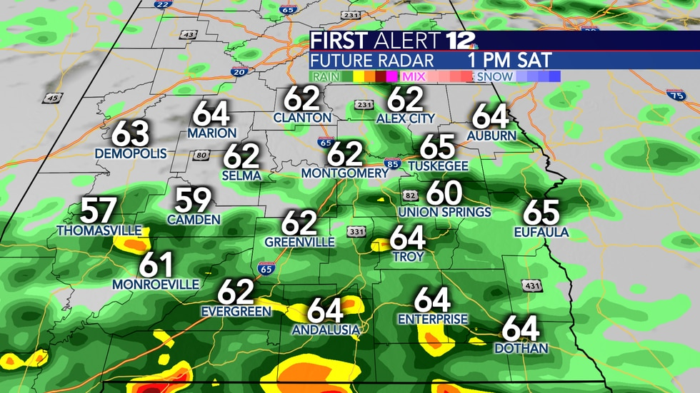 Scattered rain will favor the first half of Saturday