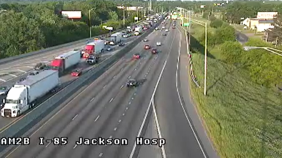 Interstate 85 southbound near Jackson Hospital remains delayed, as of 6:30 p.m., due to a...