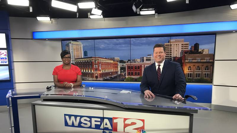 Mark Bullock and Valorie Lawson smile from the WSFA 12 News set.