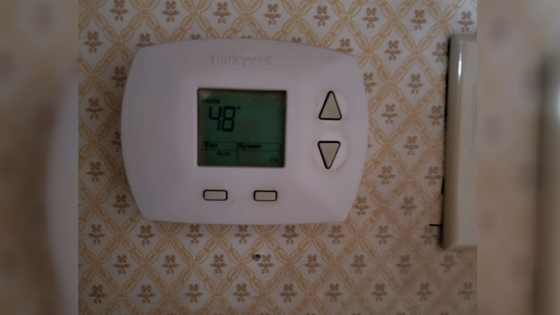 An East Texas family's thermostat reads 48 degrees while their power is out, caused by the...