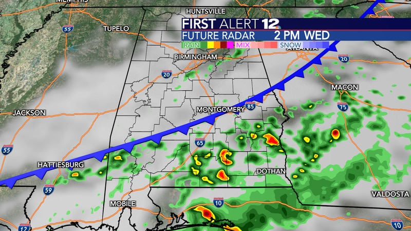 A cold front will end the rain and storm threat for most of us by 3-4pm today.