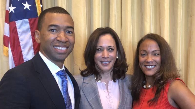 Montgomery Mayor Steven Reed with Sen. Kamala Harris.