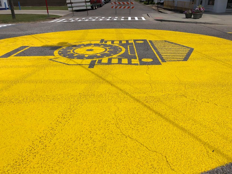 Damage shows to Ashford's new street mural after a vehicle drove around barricades and onto the...