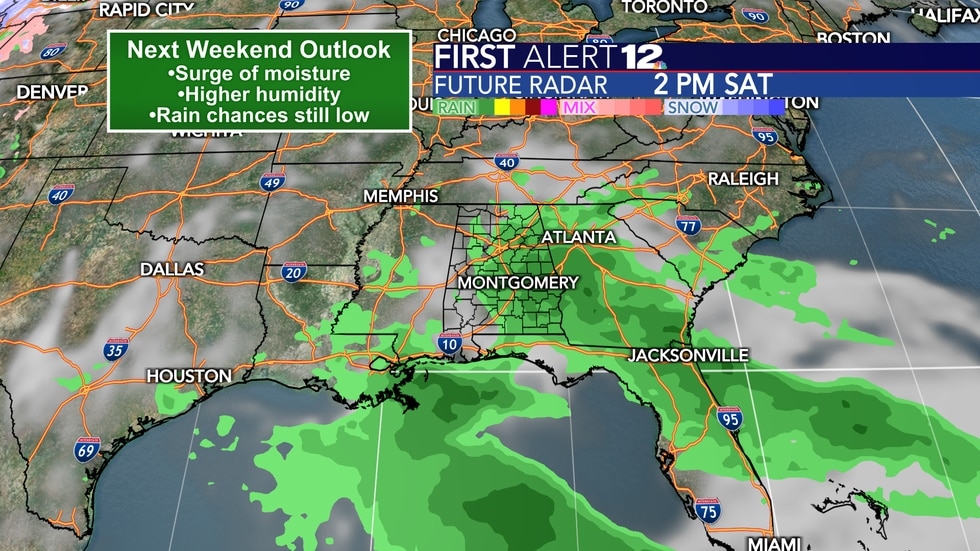 A change in the pattern is likely this weekend with more moisture, humidity and perhaps a rain...