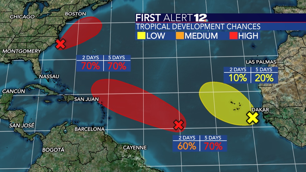 """Two areas maintain a """"high"""" chance of development in the Atlantic Basin."""