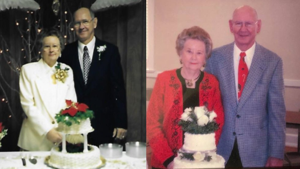 The Robersons, shown here celebrating their 50th anniversary in 1997 (L) and their 60th...