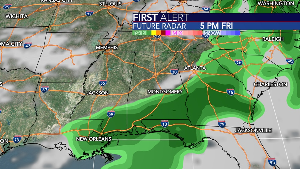 Scattered rain and storms possible Friday.