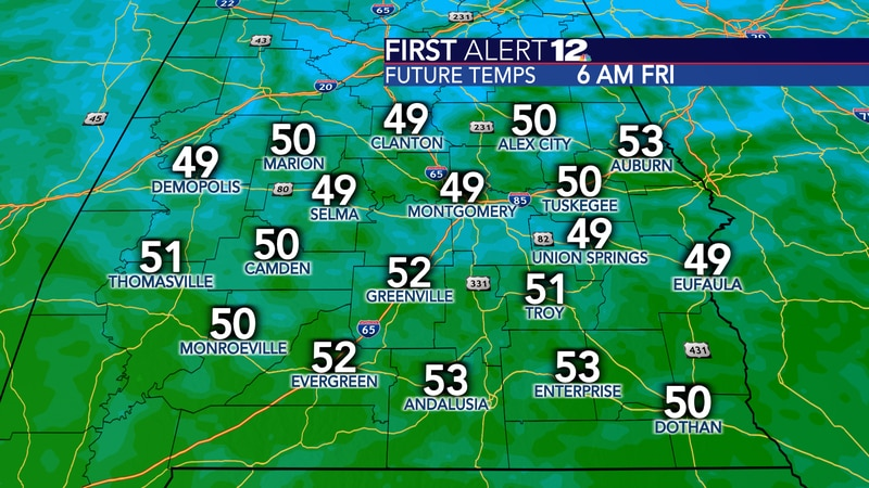 A crisp fall air mass settles in for the next several days. Friday morning will be the coolest...