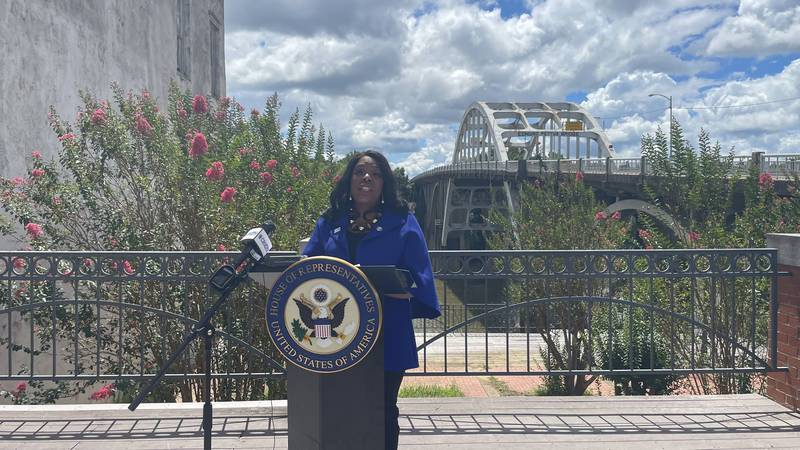 Rep. Terri Sewell used the Edmund Pettus Bridge as the backdrop for the introduction of the...