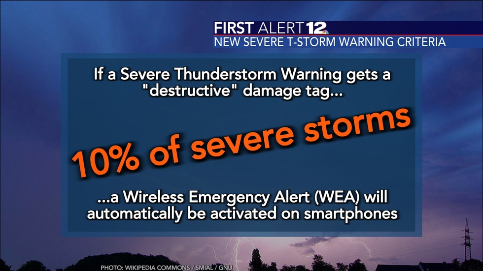 """If a severe thunderstorm gets labeled as """"destructive"""" a WEA will be sent out to all..."""