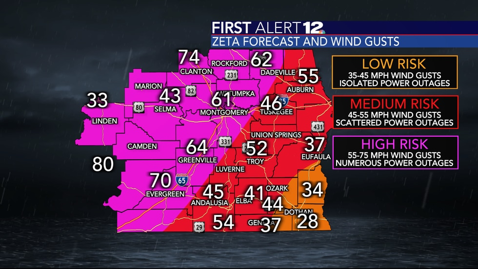 Zeta brought widespread strong to damaging winds to Central Alabama.