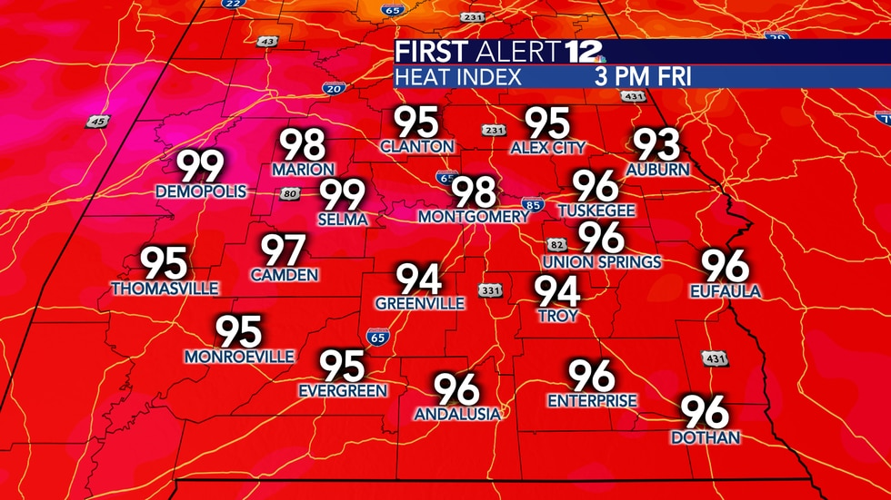 Daily heat indexes will reach 93-99 degrees courtesy of the tropical humidity.