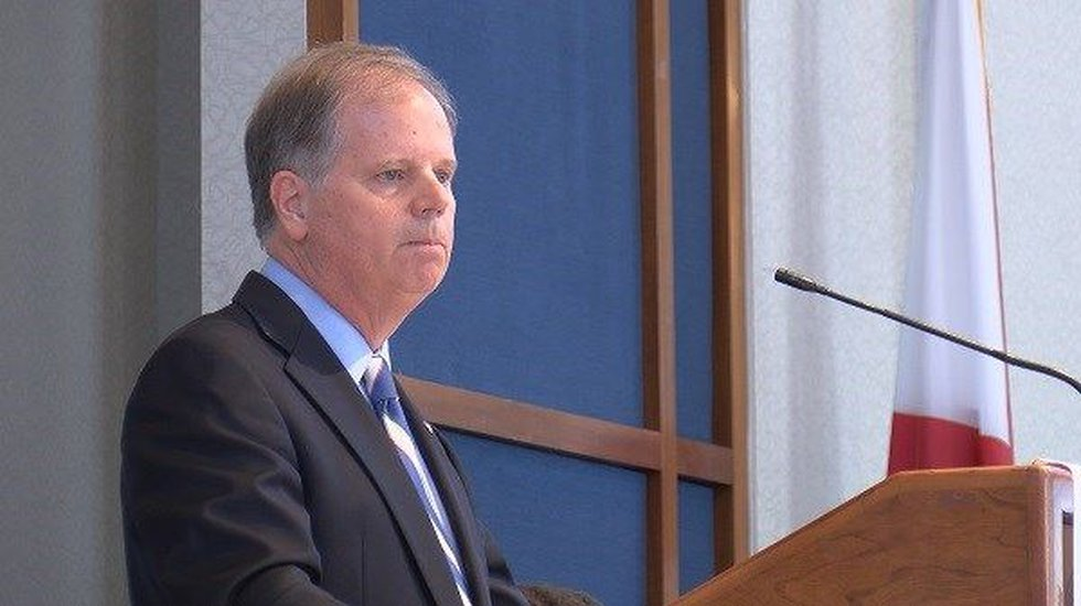 Alabama Sen. Doug Jones spoke with the participants at their luncheon, encouraging them to...