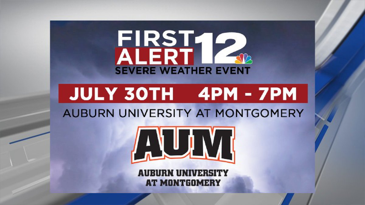 Join the WSFA weather team on July 30, 2021, for a severe weather event at Auburn University at...