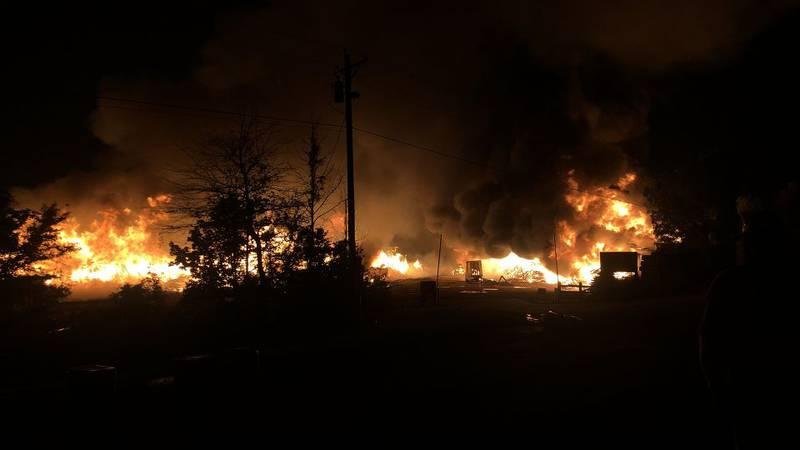 Fire destroys area in Burnsville near Selma.