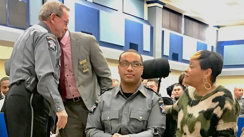 Tallapoosa County Sheriff Jimmy Abbett names Reeltown High's Isaiah Taylor as an honorary...