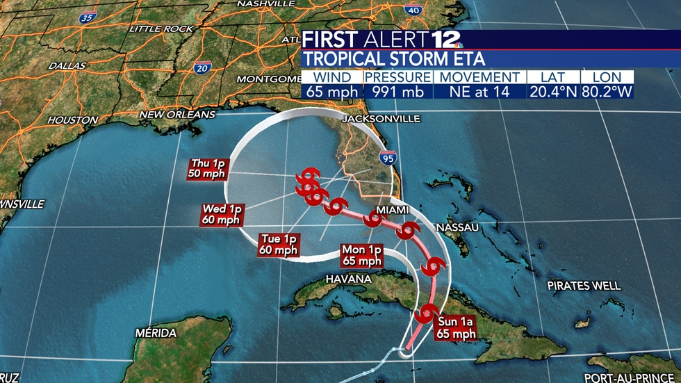 Eta will move over Cuba, then slowly find its way into the Gulf of Mexico...