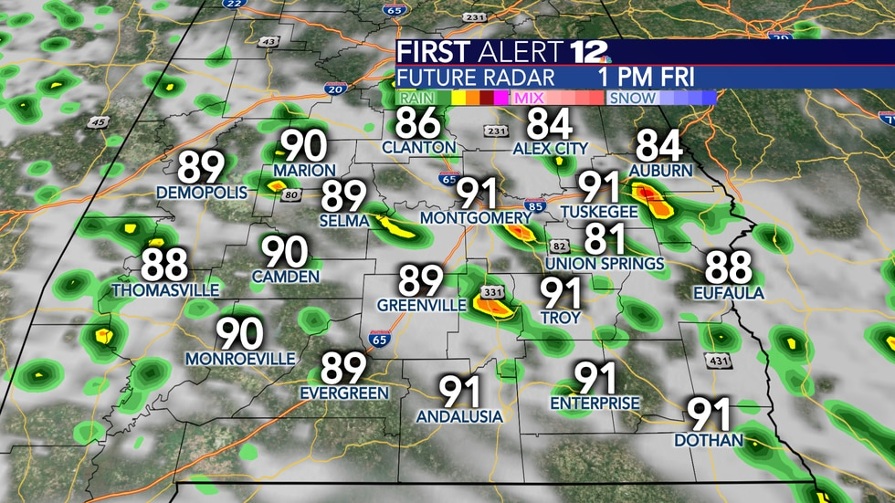 Scattered showers and thunderstorms again Friday.