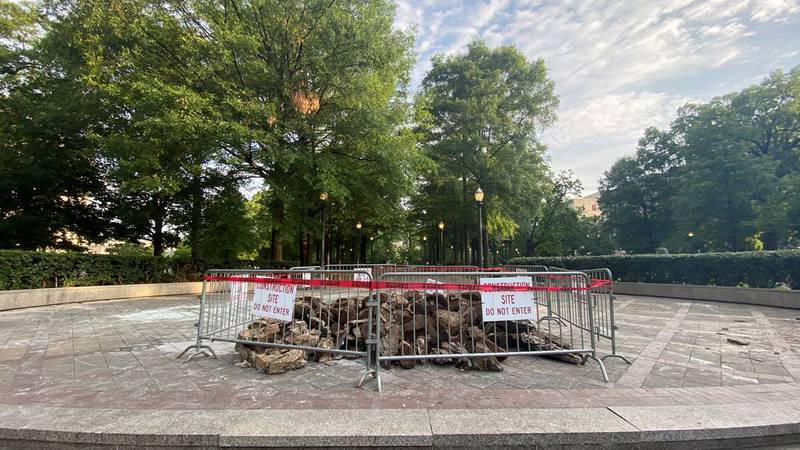 The Confederate monument in Birmingham's Linn Park has been fully removed.