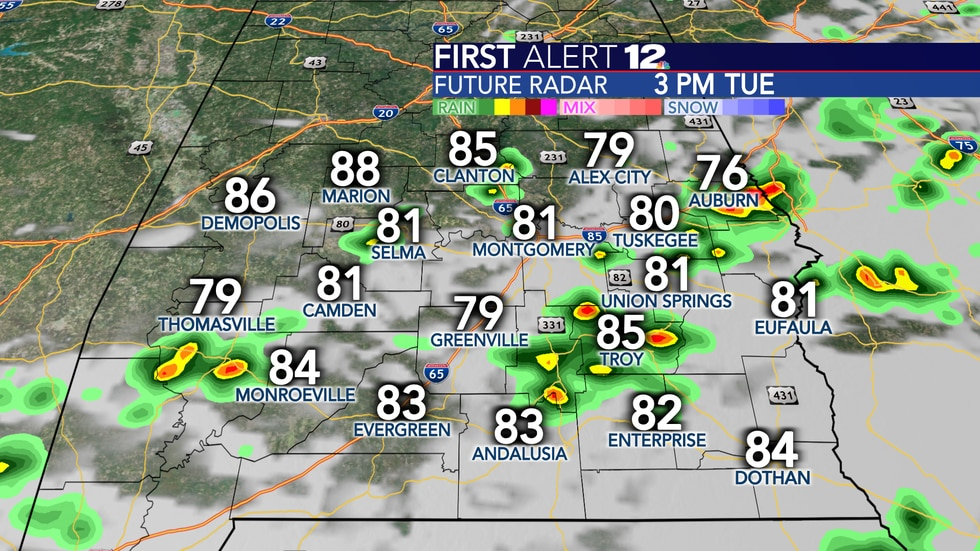 Scattered showers and storms are expected Tuesday.