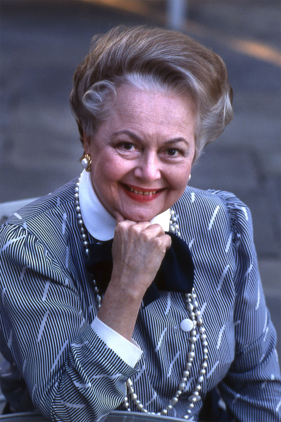 Olivia de Havilland poses for a photo in the square outside ASF Grand Lobby during ASF's...
