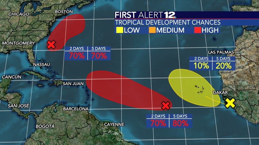 Two systems in the Atlantic have a high chance of development over the next few days.