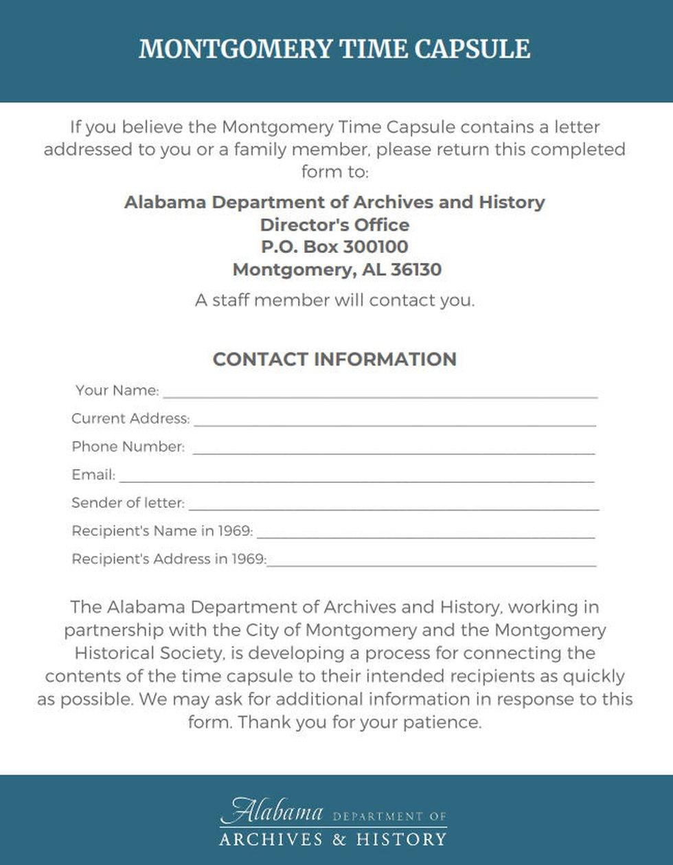 Alabama Dept. of Archives time capsule form