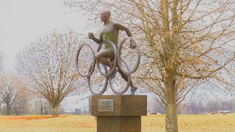 Jesse Owens Statute at the Jesse Owens Museum in Danville, Alabama