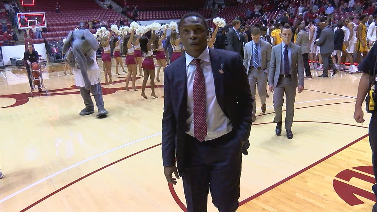 Alabama head coach Avery Johnson walks off the court after the Tide's loss to Norfolk State in...